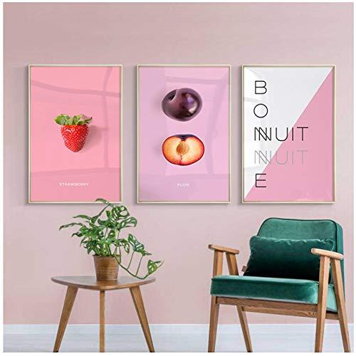 Zhaoyangeng Heldere kleuren Posters Raspberry Mango Fruit Canvas Schilderij Hd Print Muur Kunst Foto voor Woonkamer Keuken Decor- 50X70Cmx3 Geen Frame