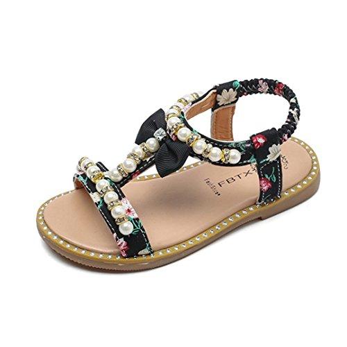 Princesse Chaussures, Transer Sandales pour Fille Perles Cristal Roman Sandales Rome Chaussures Princesse Chaussures (21, Noir)