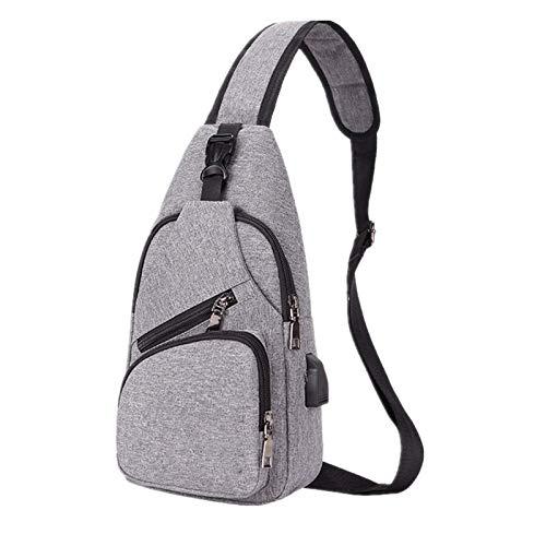 Qdreclod Brusttasche Sling Bag Schultertasche, Leichte Umhängetasche Wasserdicht Sporttasche Kompatibel Herren Damen mit USB-Ladeanschluss und verstellbarem Schultergurt