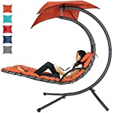 Best Choice Products Hanging Curved Chaise Lounge Chair Swing for Backyard, Patio w/Pillow, Canopy, Stand - Orange