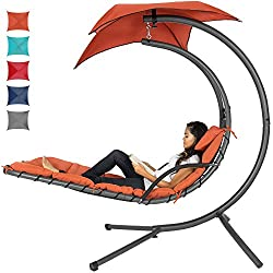 Best Choice Products Outdoor Hanging Curved Chaise Lounge Chair Swing for Backyard