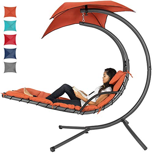 Best Choice Products Outdoor Hanging Curved Steel Chaise Lounge Chair Swing w/Built-in Pillow and...