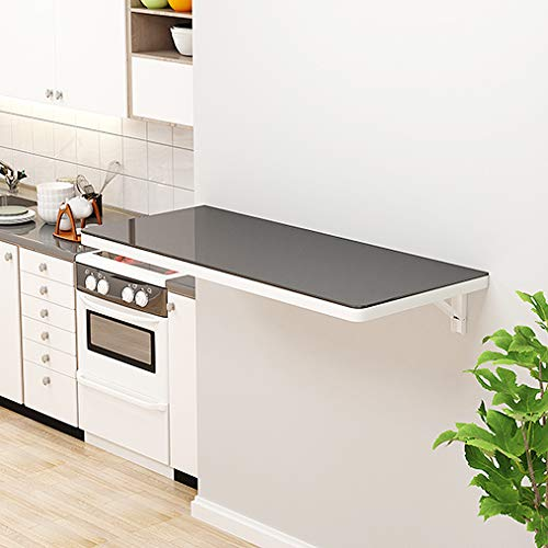 ADASP Wandschreibtisch, klappbarer Balkon-Wandtisch, Computertisch, Laptop-Notebook-Tisch, Massivholztisch mit gehärtetem Glas, 24 * 16 Zoll, Weiß/Gelb/Schwarz
