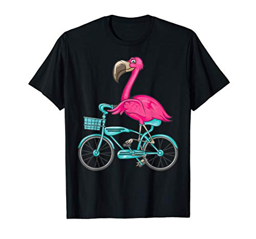 Flamingo Riding A Bicycle   Cool Bikers Funny Bike Bird Gift T-Shirt