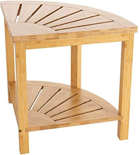 HOMECHO Sgabello da Doccia in Bambù con Ripiano in Bambù, Poltrona da doccia impermeabile con ripiano portaoggetti, sgabello da bagno in legno con sedili da bagno, perfetto per interni o esterni