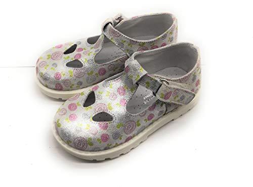 PrettiShoe 7552 Geschlossene Sandalette für Mädchen, silberfarbene Augen, Silber - silber / schwarz - Größe: 25 EU