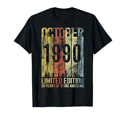 Vintage October 1990 Designs 30 Years Old 30th Birthday Gift T-Shirt