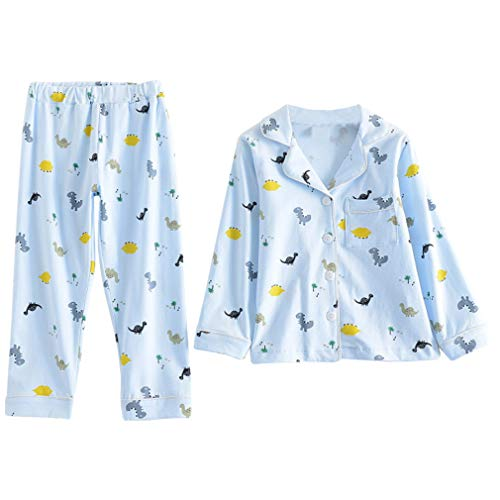 KISBINI子供服 パジャマ 女の子 男の子 長袖 長ズボン 上下セット 綿 ルームウェア 2点 キッズ 部屋着 夏服 前開き ボーイズ ガールズ 恐竜柄 ブルー 130