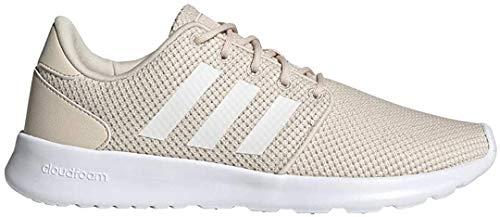 adidas Women's QT Racer Running Shoe, Linen/cloud White/Glow Pink, 7.5 M US