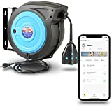 AlphaWorks Cord Reel Extension Alexa Smart Plug 14AWG x 50' Feet (2) IP64 Waterproof Wireless Remote Control Timer Rated at 13A 1625W & Advanced Slow Retraction Technology (SRT) [Patent Pending]