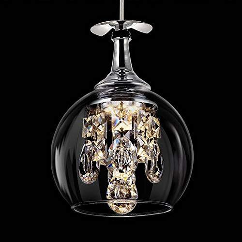 LED hanglamp, moderne kristallen hanglamp, creatieve single head wijnglas licht kroonluchter voor woonkamer slaapkamer eetkamer decoratie verlichting 5W