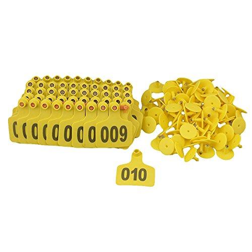 100PCS giallo 6 x 7,3 centimetri Animal Ear Tag con parole 1-100 per piccoli animali