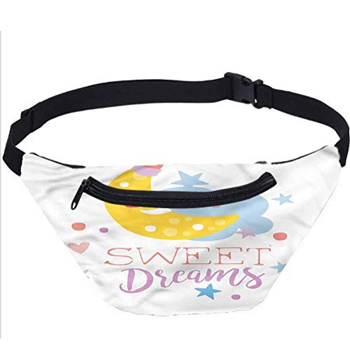 Sweet Dreams Travel Fanny Bag,Stars and Moon Waist Pack Travel Crossbody Hip Bag