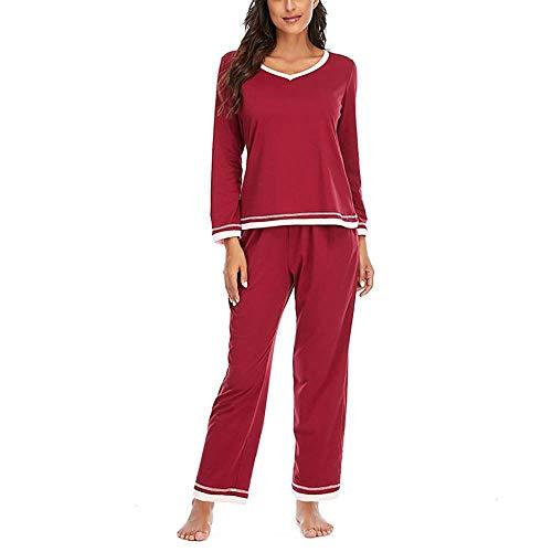 HONXT Conjunto de pijamas de manga larga para mujer borgoña XXL