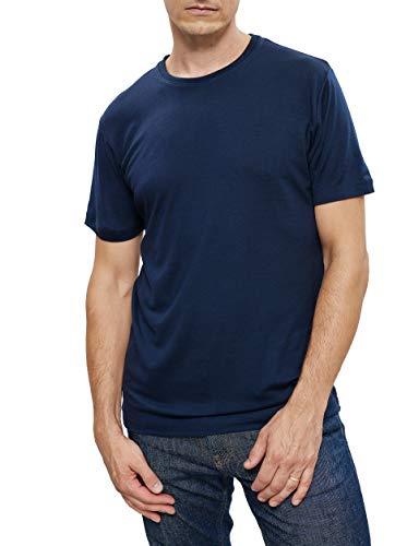 Woolday I Merino T-Shirt Herren Rundhals aus 100{d8d76ca86e49f722ef8c3ce027acf1403f158463856f458602a09f5de9f00cc7}, superfeiner Merinowolle I Stoff aus Deutschland, genäht in Portugal I Navy Blau I L