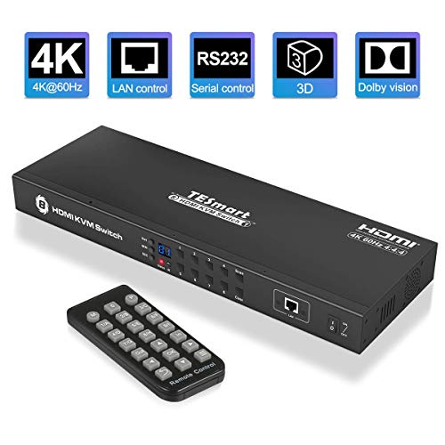 TESmart HDMI-KVM-Switch 4K 60Hz 8 Eingang 1 Ausgang Rack Mount Switch mit 4 x 1,5m KVM-Kabel, USB2.0-Gerät 8 Port Eingangskontrolle bis zu 8 Computer/Server, RS232, LAN Port Control Switch, HDCP2.2
