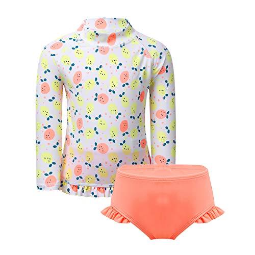 dPois Baby Mädchen Bademode Tankini Set Langarm Oberteil Shirt Badeslip mit Rüschen Früchte Muster Neugeborene Säuglind Swimswear 0-24 Monate Orange Pink 62-68/0-6 Monate