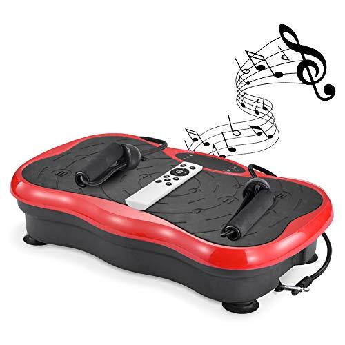 ERGO LIFE Fitness Vibrationsplatte, Ganzkörper Trainingsgerät, Vibrationstrainer für unterschiedliche Muskelgruppen Vibrationsgerät mit Fernbedienung, Trainingsbänder rutschfest (Rot)