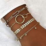 Branets Juego de pulseras en capas Boho Pulsera de círculo dorado Cadena de mano con cuentas Accesorios de joyería...