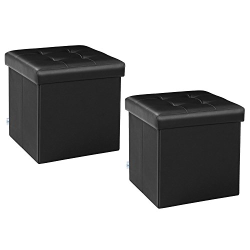 B FSOBEIIALEO Storage Ottoman Small Cube Footrest Stool Seat Faux Leather Ottoman Black 12.6'X12.6'X12.6' (2 Pack)