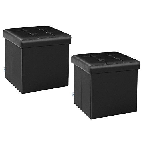 B FSOBEIIALEO Storage Ottoman Small Cube Footrest Stool Seat Faux Leather Ottoman Black 12.6
