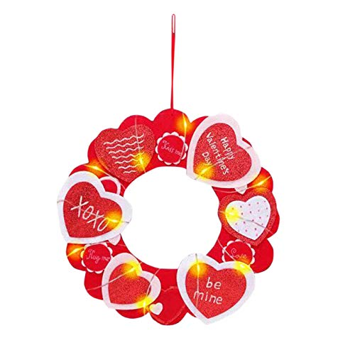 jieGorge Valentine's Day LED light Heart Wreath Door Wall Hanger, Home Decor, for Easter Day (Red)