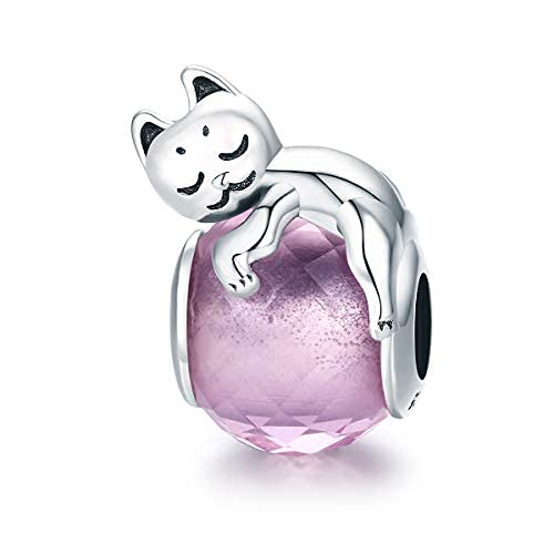 Teleye Abalorio de pulsera de plata de ley 925 con diseño de gato de cristal rosa, compatible con pulseras Pandora, pulseras europeas