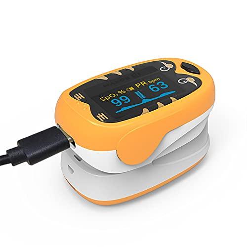 LABE Fingerspitzen-Pulsoximeter, geeignet für Säuglings-Sauerstoff-Sättigungs-Herzfrequenz-Monitor mit automatischem Schlafmodus, 4-Wege-OLED-Display, einschließlich Lanyard (Color : Orange)