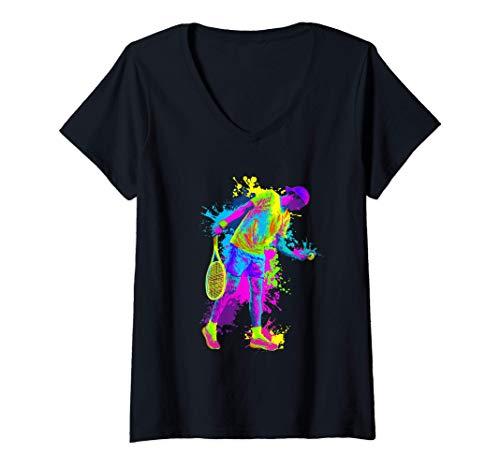 Mujer Splash Art Jugador De Tenis Regalo Genial Tenis Camiseta Cuello V