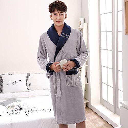 ZIXIYAWEI Bademantel Herren Männer Flanell Patchwork Bademäntel Lovers 'Winter Dicke Warme Robe Langer Morgenmantel Kimono-C_L