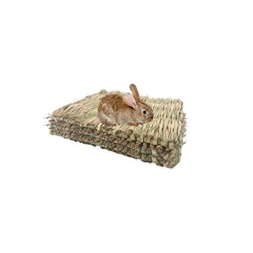 WANBAO 3 Pcs Natural Straw Grass Mat Woven Bed, Rabbit Bunny Mat, for Hamsters Parrot Rabbits and...