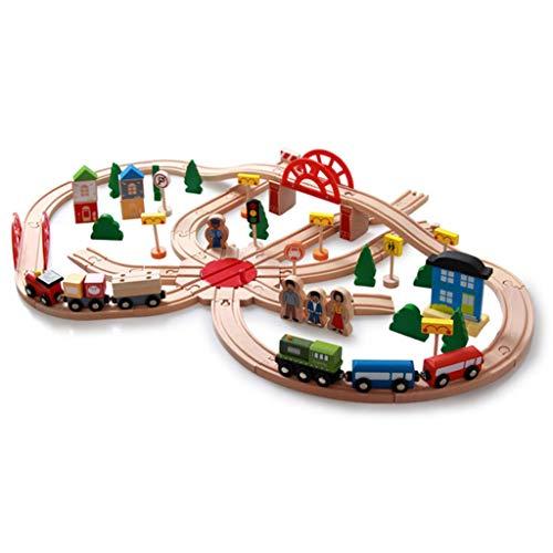 TOYS Holzeisenbahngleise/Holzeisenbahngleise, Zugset Spielzeug, Deluxe Stadtbahngleise Holzeisenbahngleise für Kleinkinder, 130 Stück Für Kinder Kleinkinder Ab 1 Jahr