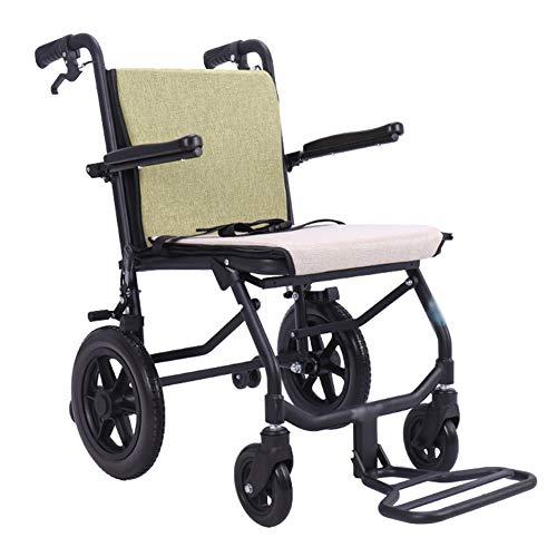 ZXGQF Silla de ruedas plegable, autopropulsable, ortopédica, freno en manetas, reposabrazos abatibles, cinturón seguridad, para minusválidos