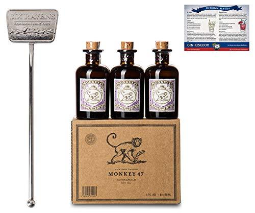 Monkey 47 Gin Set | 6X Monkey Gin Minis (6x 0.05 l) | Verpackt im schönen Monkey Karton | 1X Gin Tonic Stirrer | Aus Edelstahl gefertigt | 1X Gin Cocktailkarte | Ideal als Geschenk