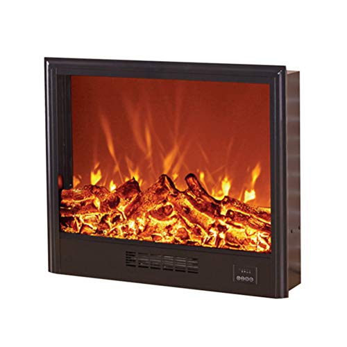 Chimenea Eléctrica Empotrada - Estufa Empotrable De Pared Con W/Logs 3D Flames Ornamental - Inserte El Enchufe Y El Sensor Más Seguro - 1500W / Negro,Lower air outlet,78×18×64cm