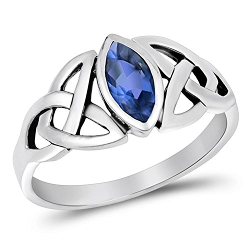Sterling Silver Blue Simulated Sapphire Ring Irish Celtic Knot Design Band Size 6