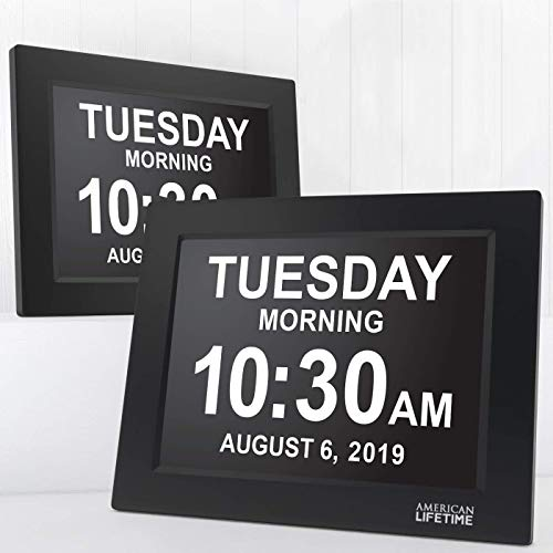 American Lifetime, Newest Version, Day Clock Extra Large Impaired Vision Digital Clock with Battery Backup and 5 Alarm Options Great Gift Ideas, 2 Pack Black