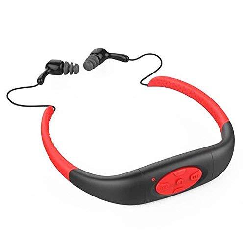 Hipipooo-8GB Speicher wasserdichte Sport MP3 Musik Player Stereo Audio Kopfhörer Unterwasser Neckband Schwimmen Tauchen mit FM Radio Headset(Rot)
