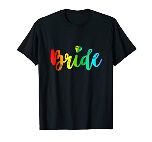 Bachelorette Gay Bride Shirt Rainbow Pride Engaged Party Tee