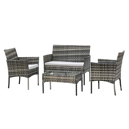 Zoyo Grey Rattan Garden Furniture Set 4 PCS Sofa Armchair and Coffee Table Set with Seat Cushion Outdoor Wicker Weave Conservatory Furniture (Grey 4 Seater)