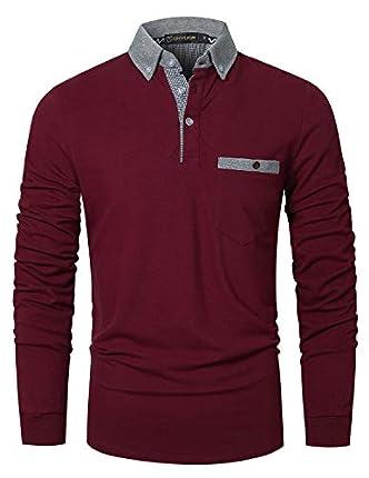 GHYUGR Polo Hombre Manga Larga Casual Contraste Escote con Bolsillo Clásico Camisas Tops,Rojo Vino,XL