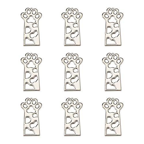 10 biseles abiertos de la parte posterior del gato con impresión de mascotas de marco hueco colgantes colgantes para joyería de resina DIY Craft Platinum