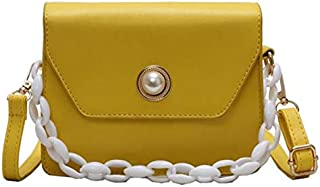 TOOGOO Fashion New Ladies Square Bag Chain Handbag Casual Shoulder Messenger Bag Yellow