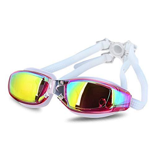 Volwassenen Solid Color Swimming Goggles Unisex Professional Swimming Glasses waterdichte anti-condens Big Box zwemmen moet goede uitrusting, roze
