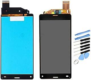 YQZ Sony Xperia Z3 compact d5803 SO-02G Z3 Mini D5833 修理交換用フロントパネル LCD タッチパネル 液晶パネル(フロントガラスデジタイザ)修理工具セット付き (ブラック)