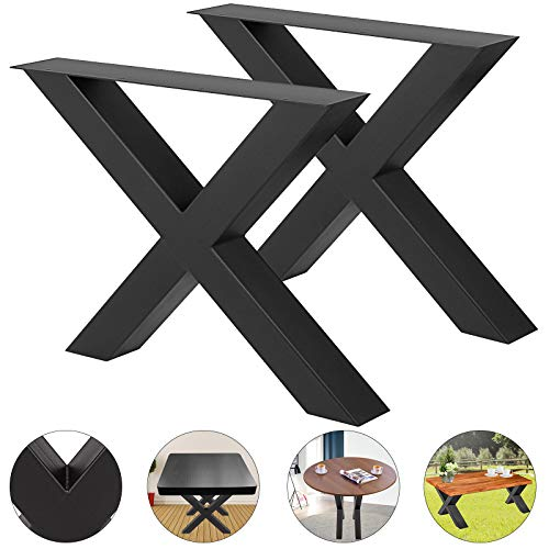 """VEVOR Set of 2 Steel Table Legs 16""""x15"""" Dining Table Legs 16""""Height 15""""Wide Office Table Legs Computer Desk Legs Steel Bench Legs Country Style Table Legs DIY Furniture Legs (X-Shape/B)"""