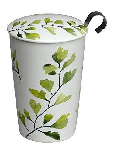 Eigenart TEAEVE Teetasse, Becher mit Sieb + Deckel, Trees Gingko im Geschenkkarton