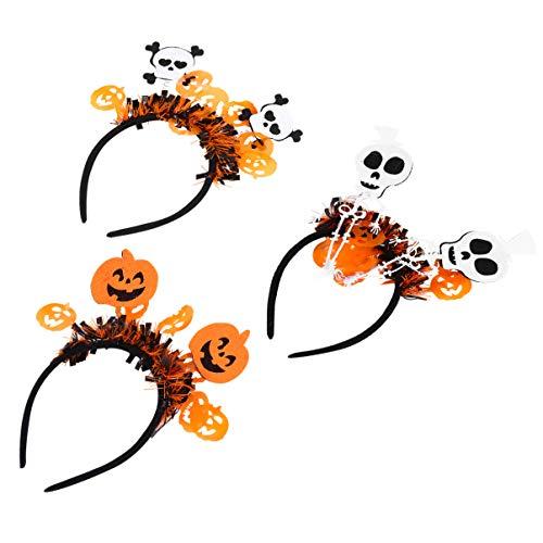 FOMIYES 3Pcs Halloween Stirnband Kürbis Geister Haar Hoop Cartoon Haarband Kopf Bopper Tag Der Toten Kopfstück Halloween Requisiten Urlaub Party Favors Supplies