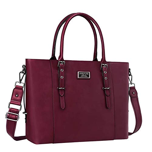 MOSISO Laptop Tote Bag (Up to 15.6 Inch),Water Resistant PU Leather Shoulder Briefcase Handbag Compatible with MacBook & Notebook Large Capacity with Padded Compartment, Wine Red