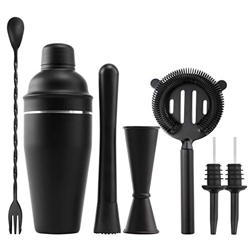 Cocktail Shaker Set 24 Ounce Drink Mixer Shaker with Accessories Bartender Kit Bar Set Including Martini Shaker Mojito Muddler Jigger Mixing Spoon Strainer 2 Pour Spouts Matte Black